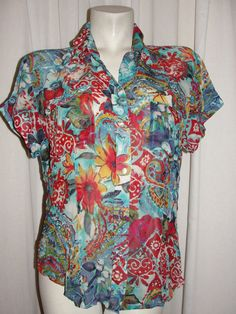 CHICOS Red Blue Green Top Floral Silk Short Sleeve Button Down Blouse Size 2 L #Chicos #Blouse #Casual