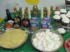 Buddy the Elf buffet... would the kids be brave enough to try it?? elf parti, christmas parties, elf buffet, elf christmas party, elf movi, parti idea, christma parti, elves, buddy the elf