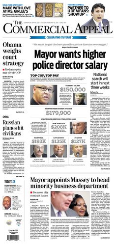 #20160216 #USA #Memphis #TENNESSEE #TheCommercialAppeal Tuesday FEB 16 2016 http://www.newseum.org/todaysfrontpages/?tfp_show=80&tfp_page=7&tfp_id=TN_CA
