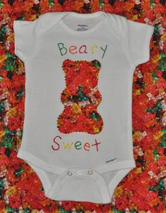 Colourful California Big Bear Short Sleeve Natural Organic Baby Onesies Bodysuits Set for Kids Boys Girls