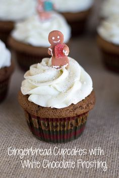 Gingerbread Cupcakes with White Chocolate Frosting | Cookie Dough & Oven Mitt