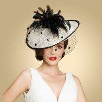 petit chapeau femme mariage original latral fleur noire en lin blanc avec serre tte - Serre Tete Chapeau Mariage