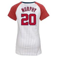 Washington Nationals Girls' Daniel Murphy Pinstripe T-Shirt Jersey - White XL, Multicolored White