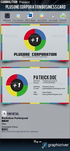 PlusOne Corporation Business Cards  #GraphicRiver        - Don't forget to Follow Us, View our Portfolio & Contact Us    - Business Card – PlusOne Corporation Business Card Thank you for visiting our item, and if you're interested, here the item description for you. 	 PlusOne Corporation Business Cards, with new interface, and easy to change anything with PSD File. With CMYK 300 Dpi and Line Guide for Printing.  - Font   Bebas –  .fontsquirrel /fonts/Bebas  Play –  .google…