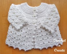 Free Baby Crochet Pattern-Picot Edge Cardigan UK - A pretty baby cardigan written in UK format, made in a shell design for a 14 inch chest Newborn baby, sweet little gift to bring baby home in. Hope you enjoy. Crochet Baby Cardigan Free Pattern, Crochet Baby Jacket, Crochet Baby Sweaters, Baby Sweater Patterns, Baby Girl Crochet, Crochet Baby Clothes, Newborn Crochet, Baby Patterns, Baby Newborn