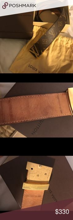Louis Vuitton Belt This is a gently used 100% authentic Louis Vuitton belt. Size 85/34 (measures 39 inches).. my hips are 33/34 inches and it fits me. Bought in 2009.. I unscrewed the bucked and moved it down a bit and it's missing one screw.. can be moved back very easily and I can do it if you like. Comes with original box and dust bag. If you want more pictures just ask:) Louis Vuitton Accessories Belts