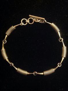 "Geometric modernist sterling bracelet designed by Miye Matsukata of Japan - measures 7"" long and weighs 14 grams - marked ""Janiye Sterling Japan 950""."