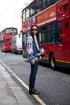 London. We're suckers for eye-popping prints, so we zeroed in on So Young's cheery jacket. Photo by The Locals