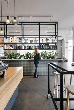 Restaurant Shelving, Cafe Restaurant, Restaurant Counter, Restaurant Interior Design, Cafe Interior, Commercial Design, Commercial Interiors, Food Court Design, Casa Cook
