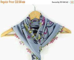 SALE 20% Turkish Oya scarf - Blue Gray Floral - Crochet Flower Edges - Square Headscarf - Turban Headwrap