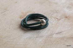 Groen rond leren armband