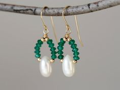 Green Onyx Freshwater Pearl Gold Filled Dangle by TheGoosle