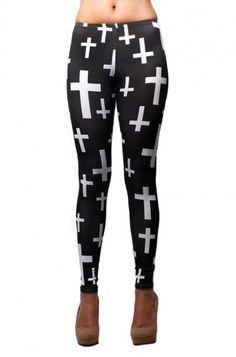 OMG Black and white cross print leggings