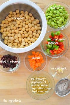 Chickpea and Edamame Salad - Mother Thyme/ very good! Used same amount of edamame and chick peas, used apple cider vinegar and honey instead of sugar. Healthy Cooking, Healthy Eating, Cooking Recipes, Healthy Food, Healthy Salads, Vegan Food, Edamame Salad, Feta Salad, Vegetarian Recipes