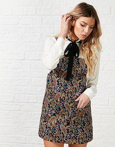 Glamorous Berry Paisley Pinafore Dress, dungaree dress, bow, cute, style, fashion