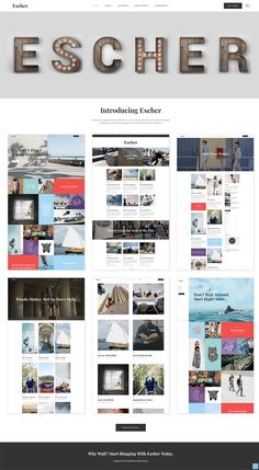 For everyone who's passionate about blogging, we have the perfect thing for you - Escher, a contemporary blog WordPress theme. Share your stories, inspirations in an eye-catching manner with our set of gorgeous blog layouts, and make your content go viral! #wordpress #theme #design #webdesign #uxdesign #uidesign #responsive #dailywebdesign #website #wordpresscommunity Singles Websites, Blog Websites, Wordpress Landing Page, Jobs Uk, Simple Website, Blog Layout, All Themes, Blog Planner