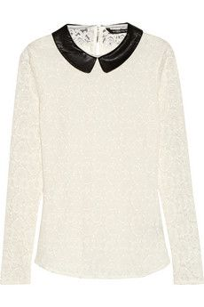 W118 by Walter Baker Piper faux leather-trimmed stretch-lace top | THE OUTNET