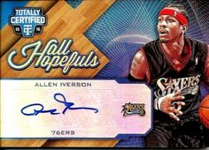 67cb097f6 2015-16 allen iverson panini totally certified auto  7 10!! blue hall  hopefuls