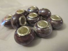 9 Purple Swirled Euro Beads Craft Supplies