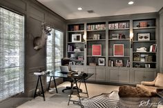 """Built-Ins and Paneling by Sherwin Williams in """"Anonymous"""" #SW 7046."""
