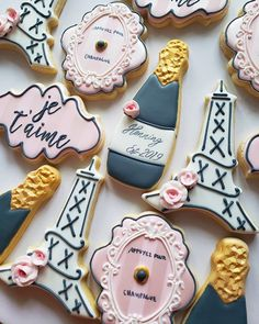 """Bridal shower games 307863324529547124 - Je t'aime. """"Press here for champagne"""" plaque by Sweetleigh Printed, LLC and background… Source by etsyposhsoiree French Bridal Showers, Paris Bridal Shower, Paris Baby Shower, Bridal Shower Favors, Paris Themed Birthday Party, Paris Wedding, Paris Themed Weddings, Cookie Favors, Marie"""