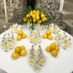 When in Capri (or anywhere in Italy honestly) you drink limoncello 🍋🍋🍋 Our escort cards with watercolor tags I painted and calligraphy… Country Wedding Centerpieces, Lemon Centerpieces, Lemon Party, Amalfi Coast Wedding, Italian Party, Limoncello, Yellow Wedding, Bridal Shower Decorations, Calligraphy