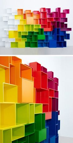 RAINBOW SHELVES!!! Sectional modular MDF storage wall by Cubit by Mymito #colour #rainbow @Cubit