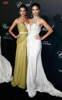 Alessandra Ambrosio and Adriana Lima in Elie Saab dresses at Chopard party during 67th Cannes Film Festival.