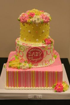 All buttercream baby shower cake by The White Flower Cake Shoppe