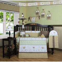 Outfit your nursery with a cheerful look using this 13-piece crib bedding set. Featuring neutral hues and an adorable bumble bee theme, this set is conveniently unisex. Thanks to durable polyester and