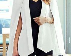 White Cape Blazer | Lookbook Store White Cape Blazer, Black Cape, Cape Jacket, Jacket Style, All Black Looks, Black Skinnies, Duster Coat, Tutorials, Store
