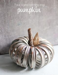 Pretty faux-aged canning ring pumpkin
