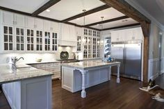 white+kitchen+with+rustic+beams