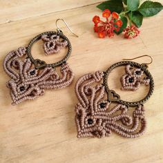 Macrame Earrings Brass Beads Waxed Cord Handmade Handcrafted #Wrap