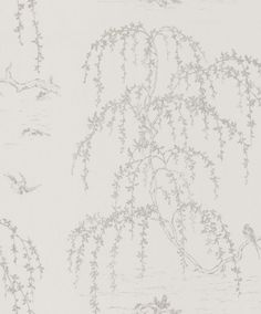 Weeping Willow (3552533) - Laura Ashley Wallpapers - A delicate oriental inspired wallpaper with trailing willow tree branches and tiny birds in flight - available in a neutral shade. Please request sample for true colour match.