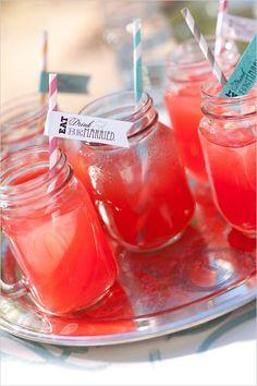 striped straws in mason jars