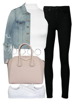 """""""Untitled #3864"""" by london-wanderlust ❤ liked on Polyvore featuring Paige Denim, WearAll, Yves Saint Laurent, Givenchy, adidas and Boohoo"""