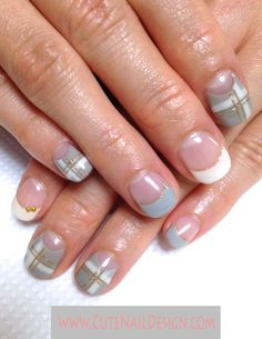 Pictures of Pretty Nail Designs Grey x White Winter Plaided Nails by Emi French Manicure Nail Designs, Grey Nail Designs, Nail Designs Pictures, French Nails, Japanese Nail Design, Japanese Nails, Cute Nails, Pretty Nails, Types Of Nails