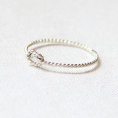 BACKORDERED - One Memory Knot Ring - Thread of Rope Sterling Silver Ring - Twist Textured Stacking Ring - Delicate Memory Ring. $9.75, via Etsy.