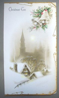 Village in snowy gold silver tone glitter CHRISTMAS VINTAGE GREETING CARD *Q | eBay