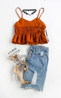 Shop Brown Ruffle Shirred Elastic Waist Cami Top at ROMWE, discover more fashion styles online. Cute Summer Outfits, Girly Outfits, Pretty Outfits, Cool Outfits, Casual Outfits, Girls Fashion Clothes, Teen Fashion, Boho Fashion, Fashion Outfits