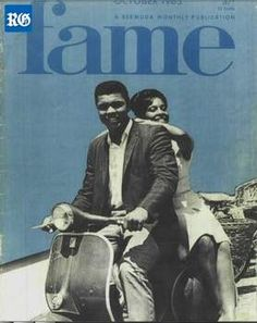 Muhammad Ali on the cover of Bermuda's Fame magazine after his 1965 visit. On the scooter is Elaine Simons, who was crowned the island's first Miss Bermuda that year (Photograph by Charles Webbe)
