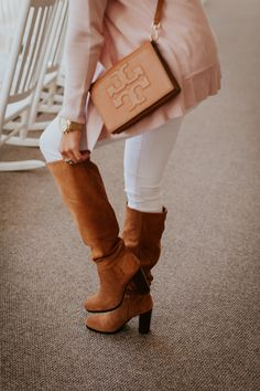 blush pink cardigan, over the knee boots, sam edelman victoria slouch boot, ann taylor open cardigan, omni homestead // grace wainwright a southern drawl