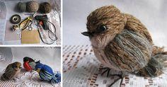 Kreatívny DIY nápad s návodom urob si sám na milé dekorácie v podobe vtáčikov, ktoré vytvoríte omotávaním a viazaním vlny - vtáčiky vytvorené z vlny Diy And Crafts, Origami, Bird, Techno, Stone, Sewing, Animals, Ideas, Projects To Try