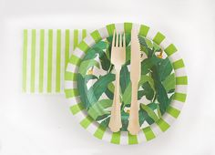 Troppo Leaf Theme Dessert Plate | Apple Green Party Paper Plate | Apple Green…