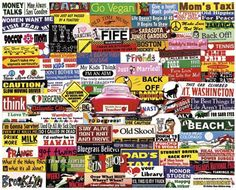 Bumper Stickers Jigsaw Puzzle 1000 Piece | Nostalgia & Americana | Vermont Christmas Co. VT Holiday Gift Shop