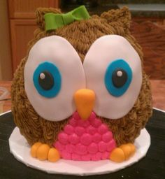 3D Owl graduation cake made using a wilton 3D teddy bear mold My