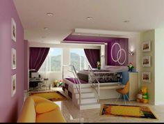 125 großartige Ideen zur Kinderzimmergestaltung - interior design ideen für kinderzimmer hochbett mit treppe sofa