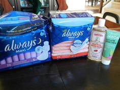 Postpartum Padsicles  pads, spread with alcohol free aloe gell, alcohol free witch hazel, wrap in tin foil and freeze