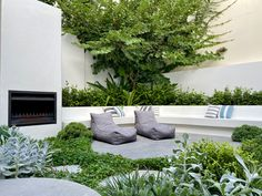 Designer Courtyard With Fireplace and Seating in Cottesloe, Perth landscaping using best trades by tristanpeirce Landscape Architecture Pool and Garden Design Courtyard Landscaping, Courtyard Design, Garden Design, Modern Landscaping, Landscaping Ideas, House Design, Landscape Walls, Landscape Architecture, Landscape Design